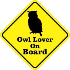 Owl Lover On Board Sticker