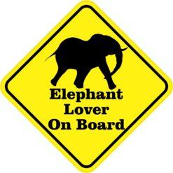 Silhouette Elephant Lover On Board Sticker