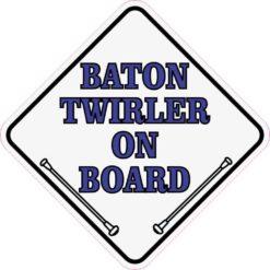 Blue White Baton Twirler On Board Sticker