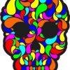 multi-color swirl skull bumper sticker