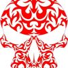Red-Orange Tribal Skull Sticker