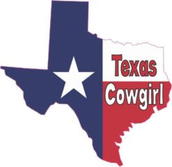 Texas Cowgirl Texas Flag car decal