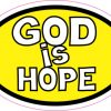 Yellow Oval God Is Hope sticker