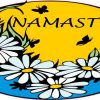 Blue Namaste Flower Sticker