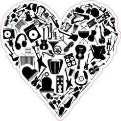 Black Instrument Heart Sticker