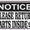 Notice Please Return Carts Inside Magnet