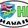 Oval Aloha Hawaii Flag Sticker
