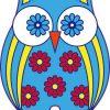 Multicolored Flower Owl Sticker