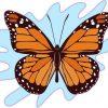 Blue Splash Monarch Butterfly Sticker