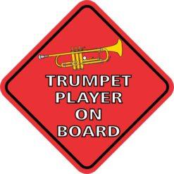 Red Trumpet Player On Board Sticker
