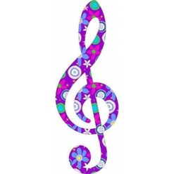 Purple Floral Treble Clef Sticker