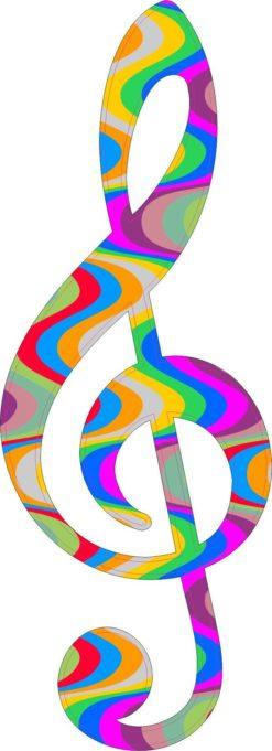Groovy Swirl Treble Clef Sticker