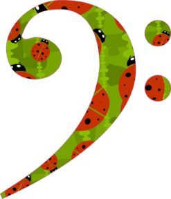 Ladybug Bass Clef Sticker