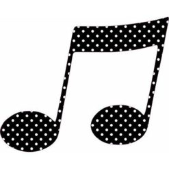 Black and White Polka Dot Double Eighth Note Sticker