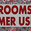 Red Floral Restrooms for Customer Use Only Sticker