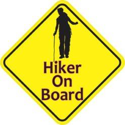 Female Hiker On Board Sticker