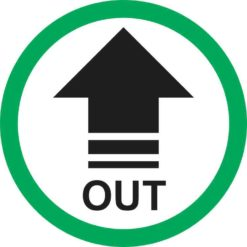 Green Circle Out Arrow Sticker