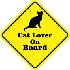 Silhouette Cat Lover On Board Sticker