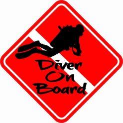Swimming Diver On Board Sticker