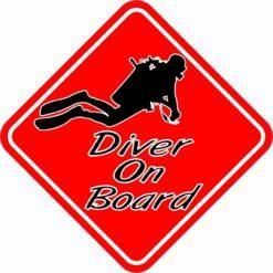 Red Diver On Board Sticker