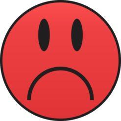Red Sad Face Sticker