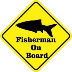 Fish Fisherman On Board Magnet