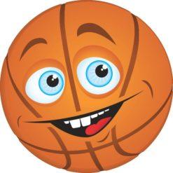 Happy Face Basketball Sticker