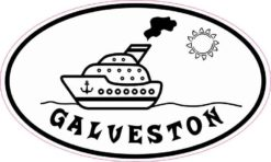 Cruise Ship Oval Galveston Sticker