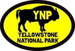 Yellow Buffalo Oval Yellowstone National Park Sticker
