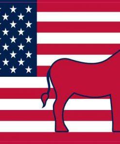 Democratic Donkey American Flag Sticker