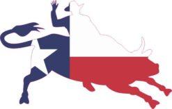 Right Facing Texas Flag Bull Rider Sticker