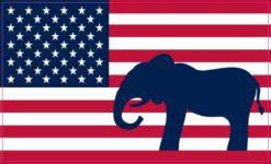 Republican Elephant American Flag Sticker