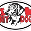Dachshund Oval I Love My Dog Sticker