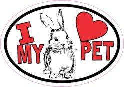 Rabbit Oval I Love My Pet Sticker