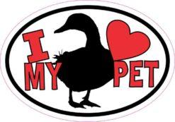 Duck Oval I Love My Pet Sticker