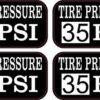 Tire Pressure 35 PSI Stickers