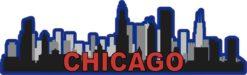 Red and Blue Chicago Skyline Sticker