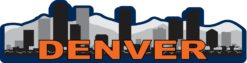 Blue and Orange Denver Skyline Sticker