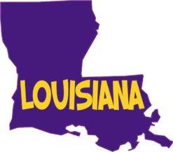 Die Cut Purple and Gold Louisiana Sticker