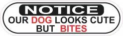 Oblong Notice Dog Bites Sticker