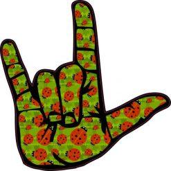 Ladybug ASL I Love You Sticker