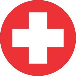 Round Cross Medical Symbol Sticker