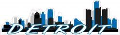Light Blue Detroit Skyline Sticker