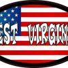 Oval American Flag West Virginia Sticker