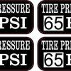 Tire Pressure 65 PSI Stickers