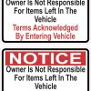 Owner Not Responsible for Items Left in Vehicle Stickers