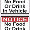 No Food or Drink in Vehicle Stickers