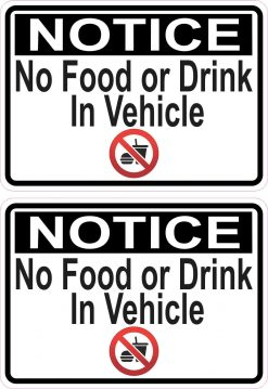 Symbol No Food or Drink in Vehicle Stickers