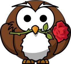 Rose Owl Sticker