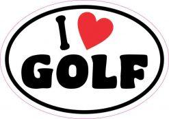 Oval I Love Golf Sticker